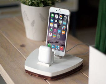 NytStnd AIRPODS DUO 1 White - FREE Shipping Dock Charging Station Wireless for iPhone X 8 AirPods Birthday Gift Present Father's Day