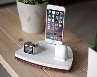 NytStnd AIRPODS TRIO 1 White - FREE Shipping Charging Station Wireless for iPhone X 8 AirPods Apple Watch Birthday Gift Present Father's Day