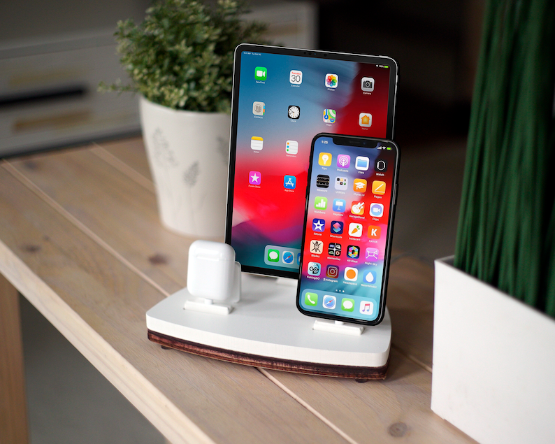 on sale 1f165 d3f79 AIRPODS TRIO 2 White   Dock Station   Wireless Charging Stand   iPhone Xs  Xr 8 AirPods iPad Apple TV   Birthday Gift Ideas   Bedroom Decor