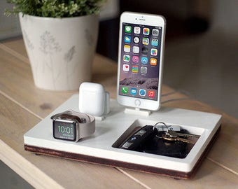 NytStnd AIRPODS TRIO 3 White - FREE Shipping Charging Station Wireless for iPhone X 8 AirPods Apple Watch Birthday Gift Present Father's Day