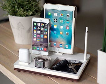 NytStnd TRAY 4 White - FREE SHIPPING Charging Station Wireless iPhone X 8 iPad Apple Watch Apple Pencil AirPods Wood Birthday Gift Father's