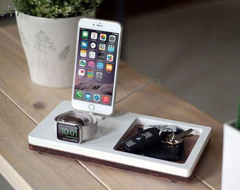 NytStnd TRAY 2 White - FREE SHIPPING Charging Station Wireless iPhone X 8 Apple Watch Oak Wood Father's Day Birthday Gift Present