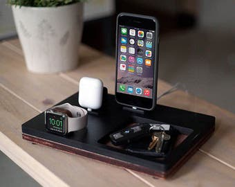 NytStnd AIRPODS TRIO 3 Midnight - FREE Shipping Dock Charging Station Wireless for iPhone X 8 AirPods Apple Watch Birthday Gift Father's Day