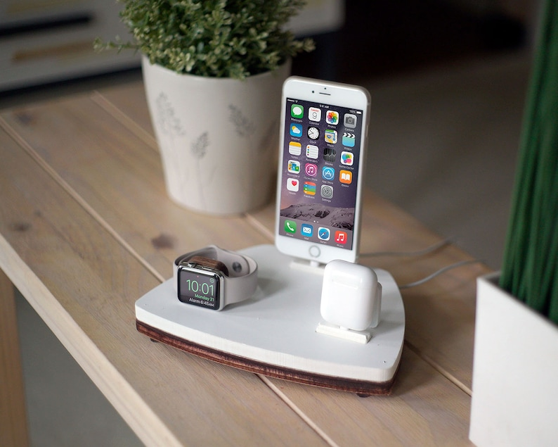 new product 7cc0a d103e NytStnd AIRPODS TRIO 1 White - FREE Shipping Charging Station Wireless for  iPhone Xs Xr 8 AirPods Apple Watch Birthday Father's Day Gift