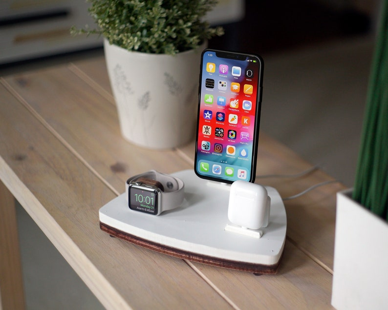 quality design 50909 53f7b AIRPODS TRIO 1 White | Charging Station | Wireless | iPhone Xs Xr 8 AirPods  Apple Watch | Nightstand Organizer | Birthday Gift | Home Decor