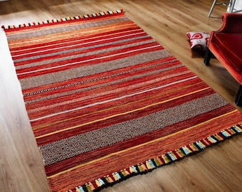 ,Handmade Kilim Rug,Handwoven,Vintage Kilim,Home Decor,simple rug-2393 Red Kilim Rug 5.90x3.37feet 180x103cm