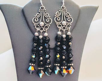 Onyx, Swarovski and Bali Sterling Silver Chandelier Earrings