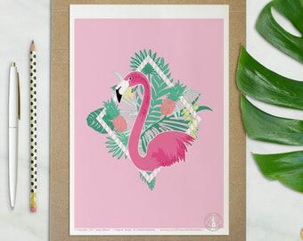 Affiche WILD FLAMINGO - Poster Flamant rose tropical - affiche deco, impression d'art, Affiche tropicale, Art mural, illustration tendance
