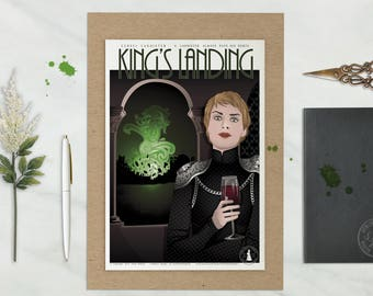 Cersei LANNISTER Poster, Game of thrones poster, Movie poster, Kings Landing illustration, Fanart, Wall art, Game of thrones TV show drawing
