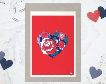 Affiche OH MY HEART - Poster Coeur, Affiche Rose Tatouage, Affiche Passion Amour Rouge - Carte Saint Valentin, Art mural, illustration Love