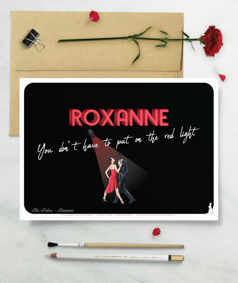 Roxanne Printed Poster Quote Poster Song Lyrics The Police Etsy