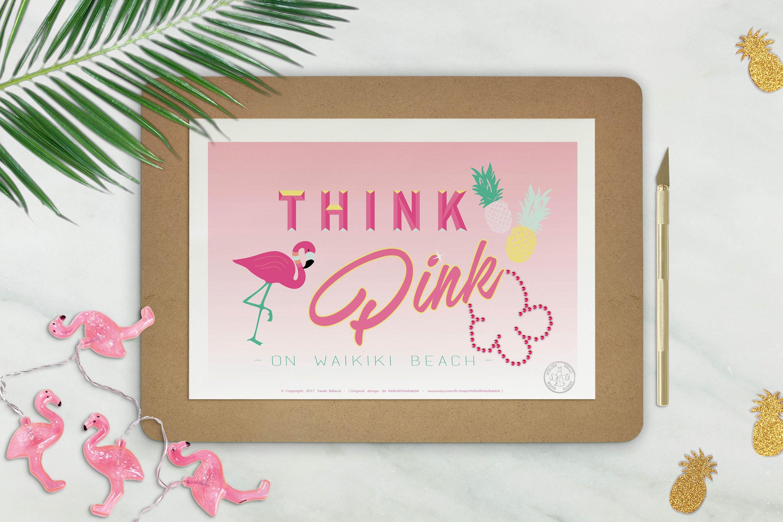 affiche think pink poster flamant rose cocktail affiche etsy. Black Bedroom Furniture Sets. Home Design Ideas