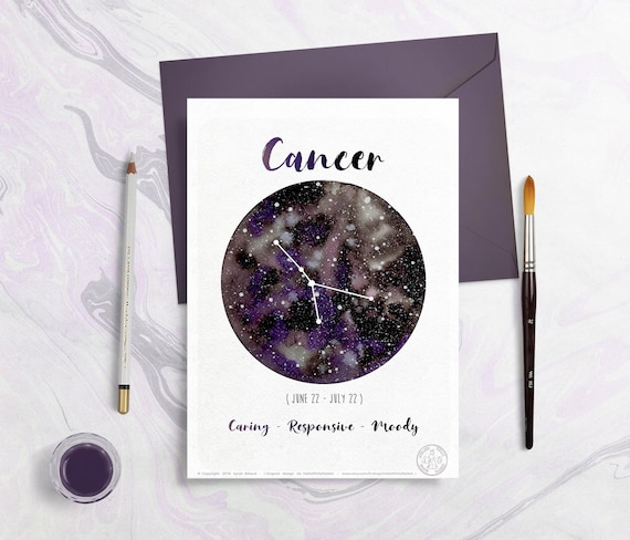 Astrology Card - Zodiac Signs - Cancer, planet drawing, constellation  illustration, watercolor planets, gift idea, horoscope, July month