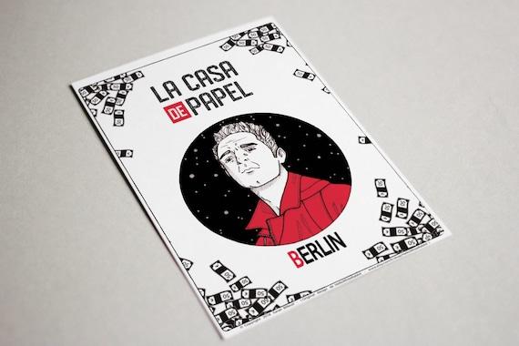 Berlin Poster, TV Show Money Heist, La Casa de Papel - Berlin character,  Berlin drawing, Art poster, Card, Decoration, Gift idea, A6 size