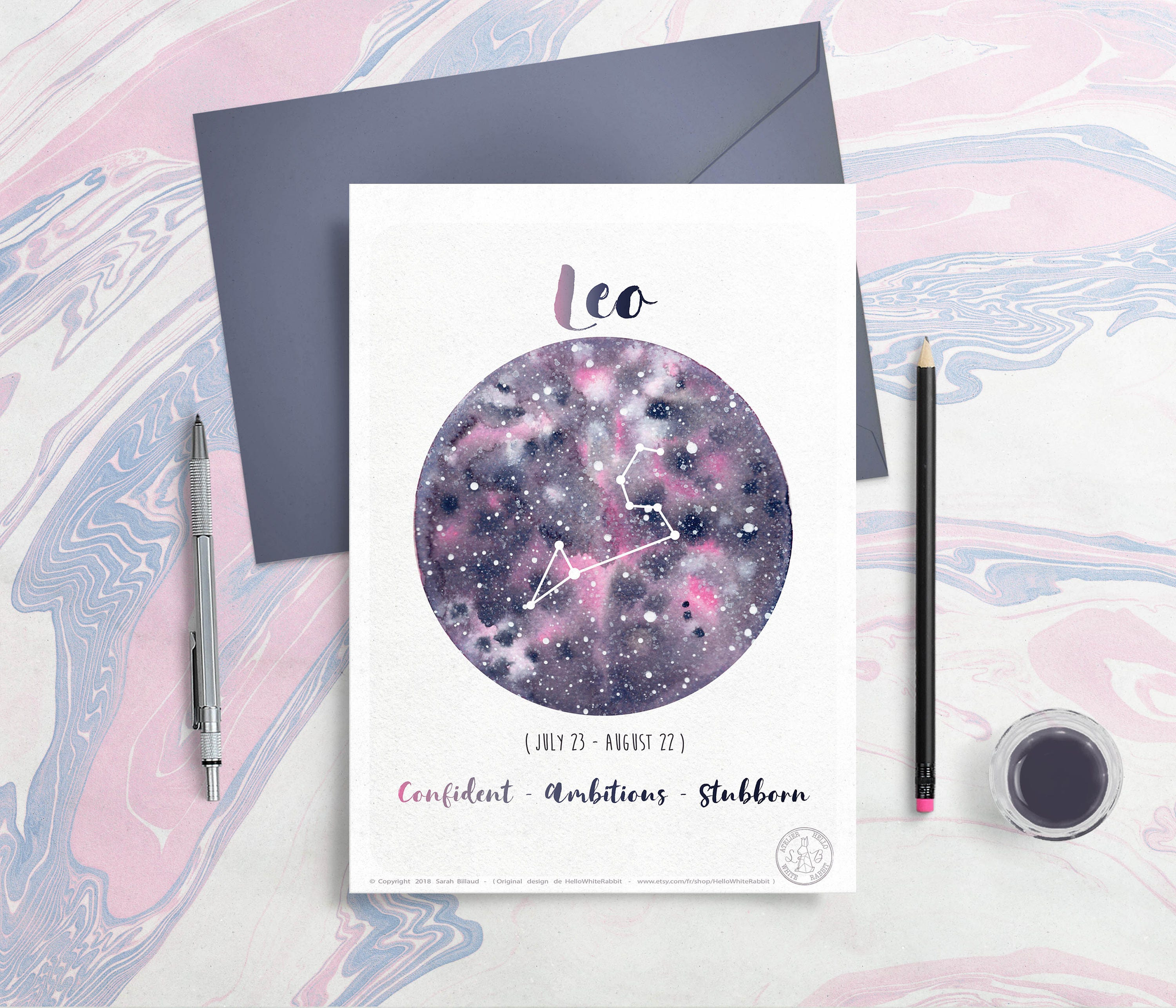 Astrology Card - Zodiac Signs - Leo, Horoscope, Planet Illustration,  Constellation drawing, Watercolor galaxy, Give as gift, August month