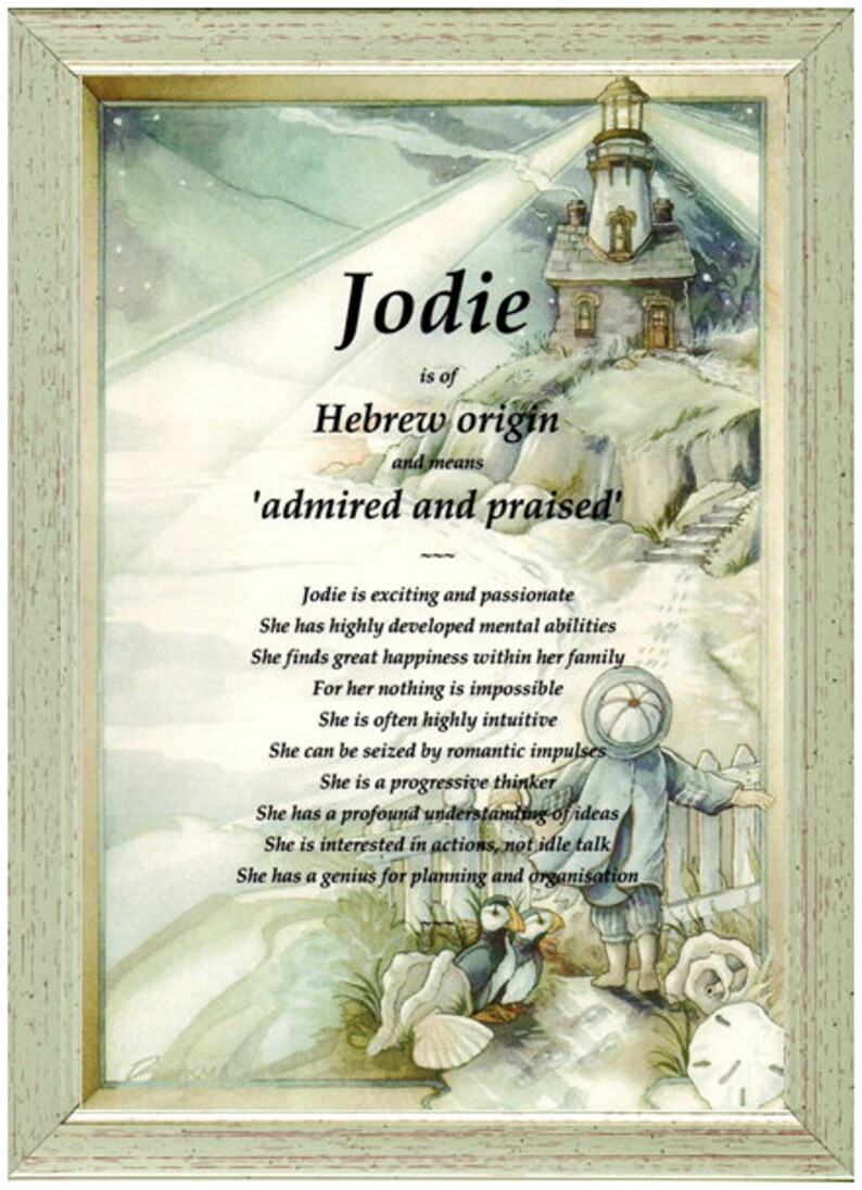Personalised First Name Meaning Origin Gift Jodie Lighthouse