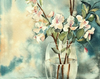 Original watercolor of a bouquet of apple flowers,  real and unique painting
