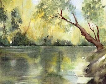 Original watercolor painting, quiet riverside, Landscape ,Tree, Pond