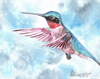 Lovely original watercolor painting / bird / hummingbird