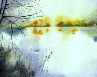 Original and unique watercolor of a peaceful landscape around a pond in the countryside
