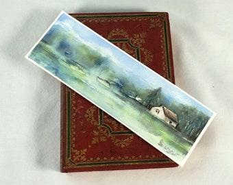 Bookmark original watercolor painting / bucolic landscape / quality handmade