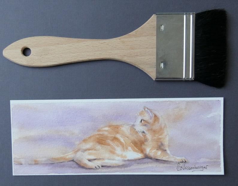Bookmark original watercolor painting   Cat  Weissenberger Christine