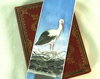 Bookmark original watercolor painting / stork of Alsace France / quality handmade