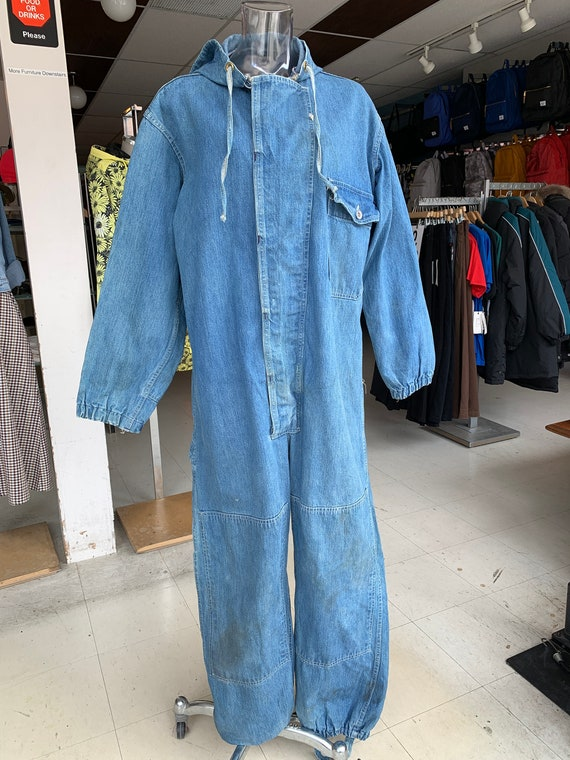 SetLow Vintage Cool Hooded Denim Workwear Coverall