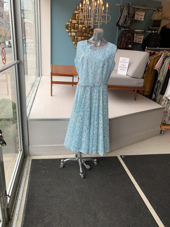 1950's Blue Flocked Velvet Vintage Dress XL