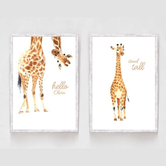 giraffe Print poster a4  picture nursery unframed animal hello little one blue