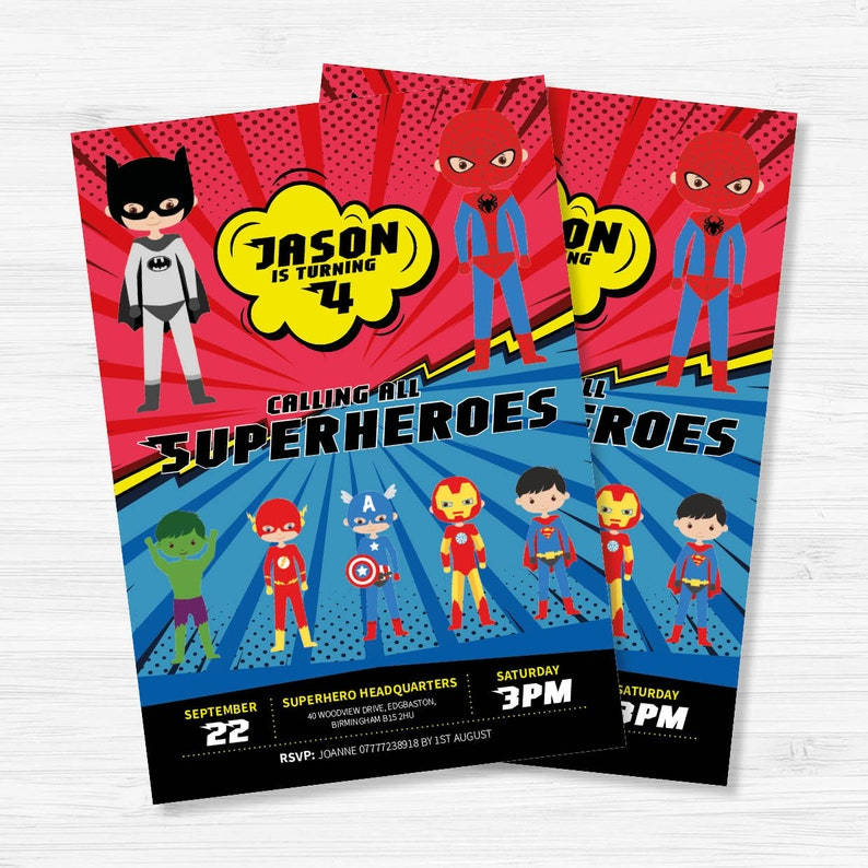Personalised Superhero Birthday Invitation Invite