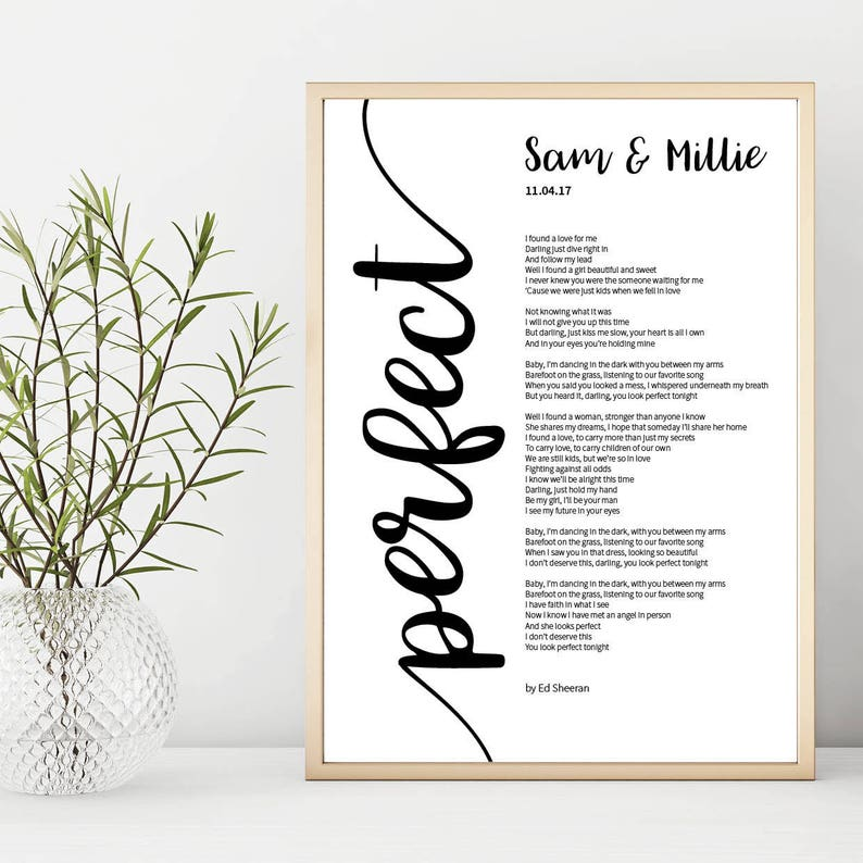 Ed Sheeran 'Perfect' Song Lyrics Print Personalised, Custom Song Lyric  Print, Valentines Gift, Gift for her, Gift for him, Anniversary Gift