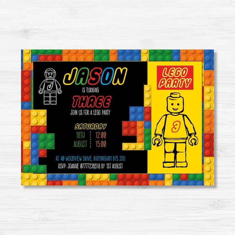 Lego Birthday Invitation Party Invitations Invite