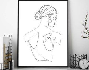 Line Art Woman, Line Drawing Print, Woman Line Art, Fine Line, Line Art, Woman Line Drawing, Wall Art Print