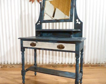 Beautiful distressed shabby chic dressing table white and blue