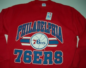 Philadelphia 76 ers NBA basketball vintage crewneck sweater by Trench  (fruit of the loom) New with sticker with frontprint made in the USA 0f5279340