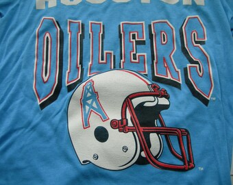 e41910052 Houston Oilers football nfl vintage script logo t shirt made in the usa by  Garan new with tags