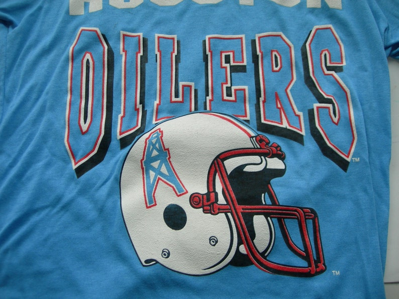 Houston Oilers football nfl vintage script logo t shirt made  94dc29f82