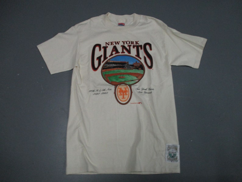 lowest price 3ce4c afff5 New York Giants baseball vintage Nutmeg printed off white t shirt stadium  1893-1961 X-Large new with nutmeg tag 1991