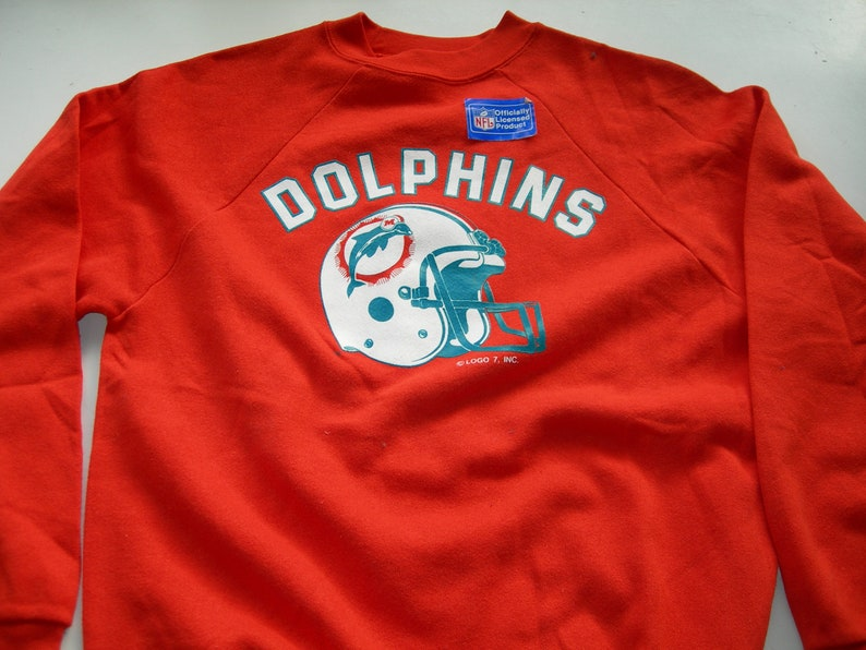 size 40 b7d69 24676 Vintage Miami Dolphins orange sweatshirt by LOGO7made in the USA New with  tags and sticker officially licensed product paperthin sweat