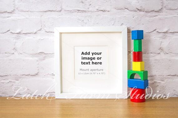 Mock up white square box frame toy bricks 12 x 12cm styled | Etsy