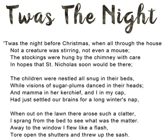 Children Christmas Poem.Twas The Night Before Christmas Poem Typography Art Child Nursery Xmas Eve Quote Printable Wall Art Decor Digital Instant Download Poster
