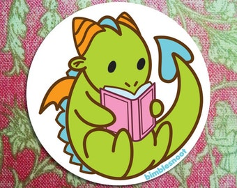 Vinyl Sticker - Tiny Green Dragon Reading a Good Book! Waterproof, for Indoor or Outdoor Use!