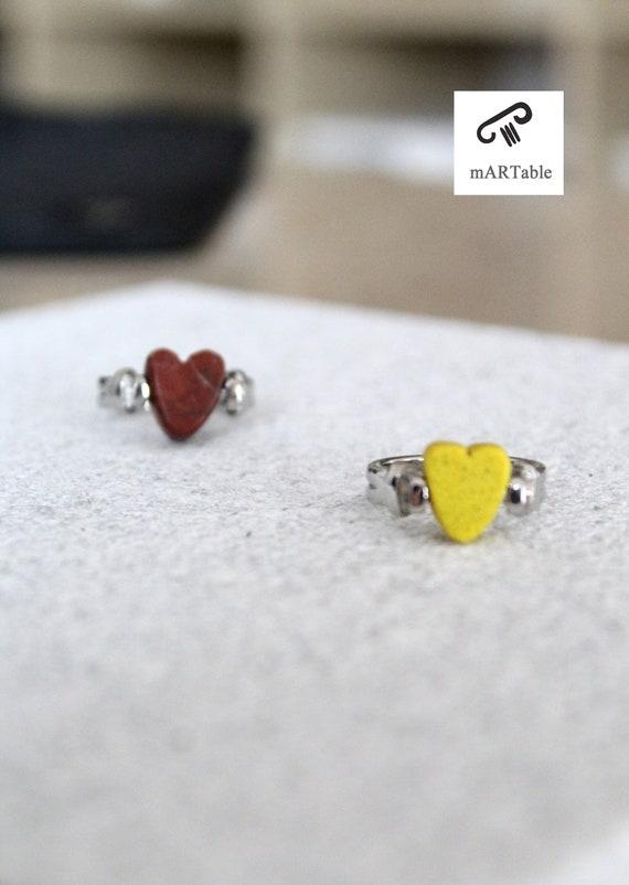 Pierre de quartz bague bijoux //Granite / / Base en métal laiton //U anneau/coeur/Minimal / / fait main / / Giftforher / / mode / / accessoires/Artdesign