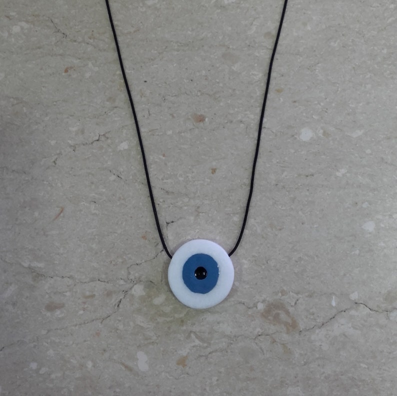 Lucky Charm Necklace Evil Eye,Handmade,Unique Real Marble,Greek Creations Contemporary Jewelry Stone Jewelry