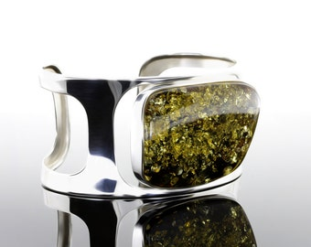 Green Amber Silver Bracelet, Stone Cuff Bracelet, Large Stone Bracelet, Green Stone Silver Bracelet, Cuff Silver Bracelet, Large Bracelet