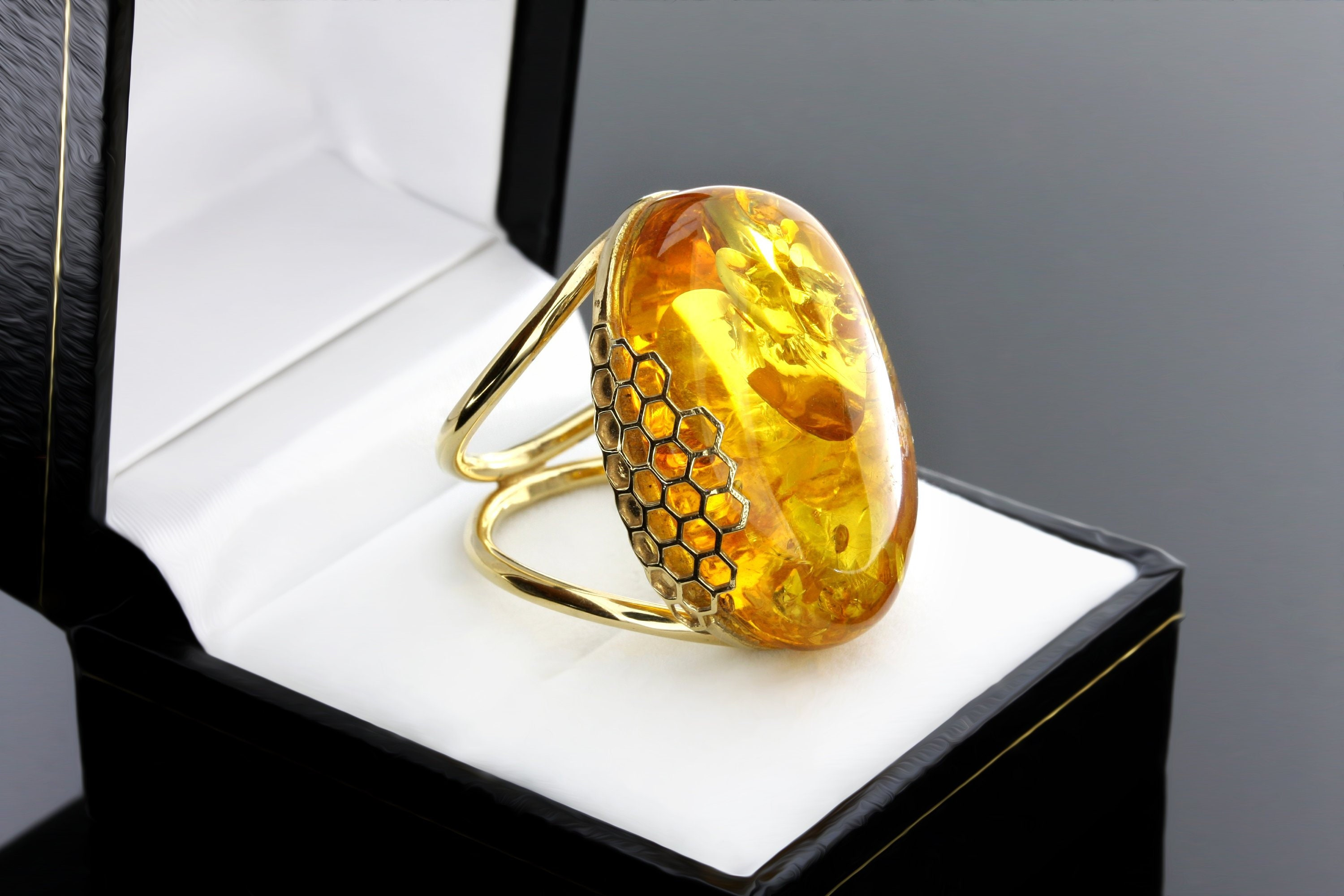 Gold Ring With Stone, Cognac Ring, Gold Amber Ring