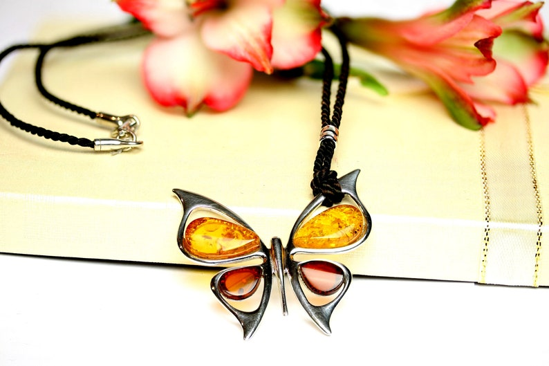 Cognac Amber Pendant Gift Butterfly Amber Silver Pendant,Colored Amber Stone Necklace,Cherry Necklace Multicolored Baltic Amber Pendant