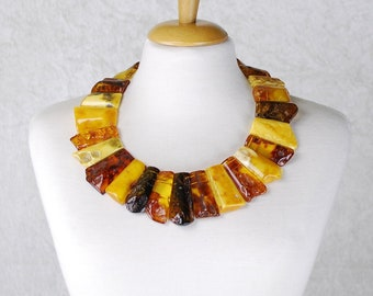 Truly One-of-a-kind Amber Collar Necklace Made of Precious Natural Amber – Amber Jewelry, Amber Jewellery