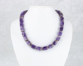Classic, Elegant Amethyst Quartz Cylinder Necklace – Amethyst Jewelry, Crystal Jewellery, Birthstone February